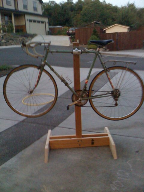 Diy bike repair stand phase ii mission accomplished for How to make a bike stand out of wood